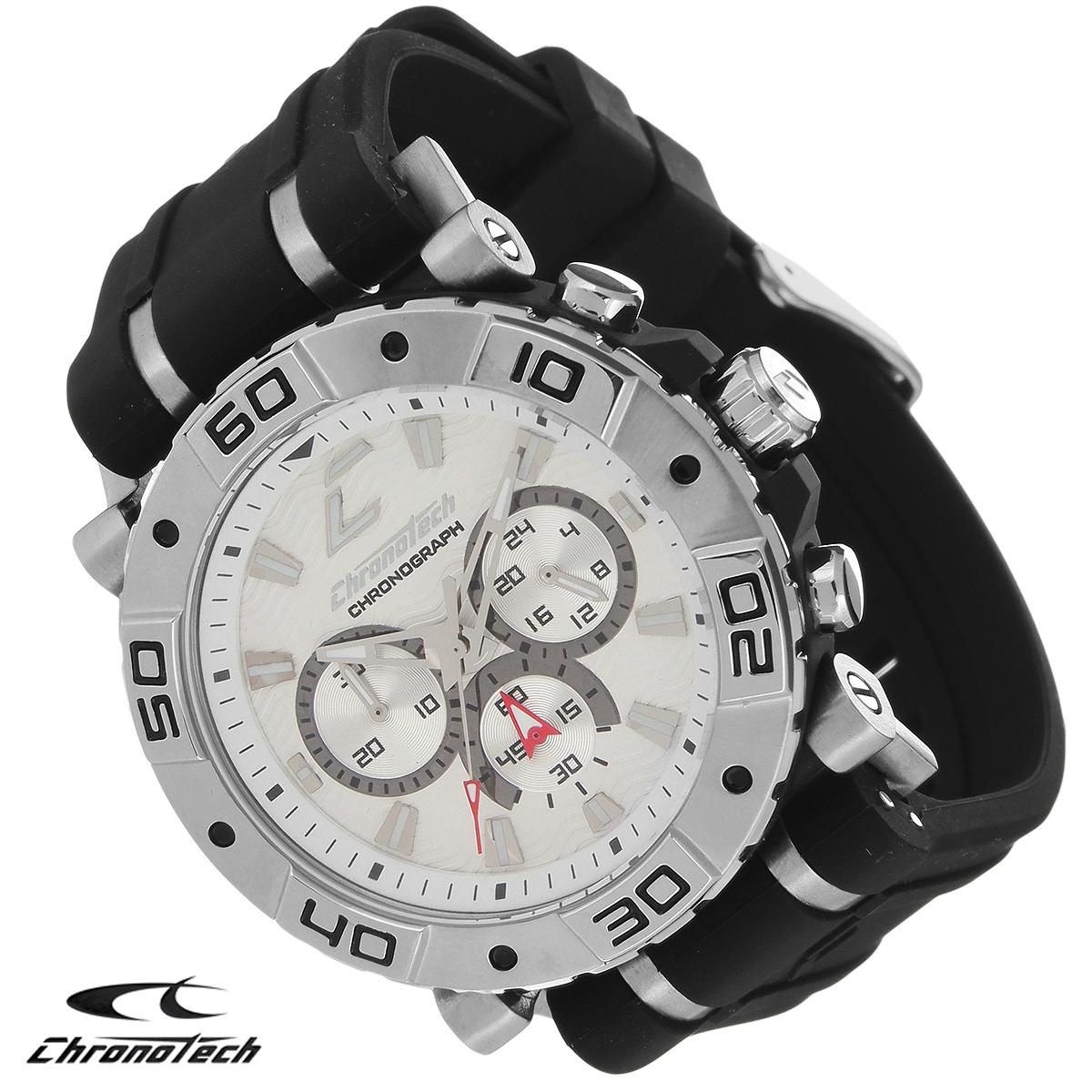 Часы мужские наручные Chronotech, цвет: черный. RW0034RW0034Часы Chronotech - это часы для современных и стильных людей, которые стремятся выделиться из толпы и подчеркнуть свою индивидуальность. Корпус часов выполнен из нержавеющей стали. Циферблат оформлен отметками и защищен минеральным стеклом. Часы имеют три стрелки - часовую, минутную и секундную. Стрелки и отметки светятся в темноте. Ремешок часов выполнен из каучука и застегивается на классическую застежку. Часы выполнены в спортивном стиле. Часы упакованы в фирменную коробку с логотипом компании Chronotech. Такой аксессуар добавит вашему образу стиля и подчеркнет безупречный вкус своего владельца. Характеристики: Диаметр циферблата: 3,3 см. Размер корпуса: 4,5 см х 4 см х 1 см. Длина ремешка (с корпусом): 24,5 см. Ширина ремешка: 2,4 см.