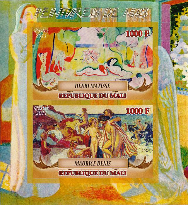 Малый лист Живопись Ню. Мали. 2011 год656Малый лист Живопись Ню. Мали. 2011 год. Размер марок: 4.5 х 7 см. Размер блока: 12 х 11 см. Сохранность хорошая.
