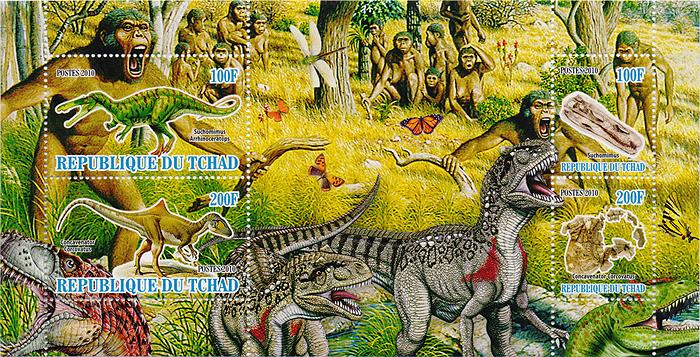 Малый лист с зубцами Динозавры и первобытный мир. Чад. 2010 год656Малый лист с зубцами Динозавры и первобытный мир. Чад. 2010 год. Размер марок: от 3 х 2.5 см до 3 х 5 см. Размер блока: 9 х 17 см. Сохранность хорошая.