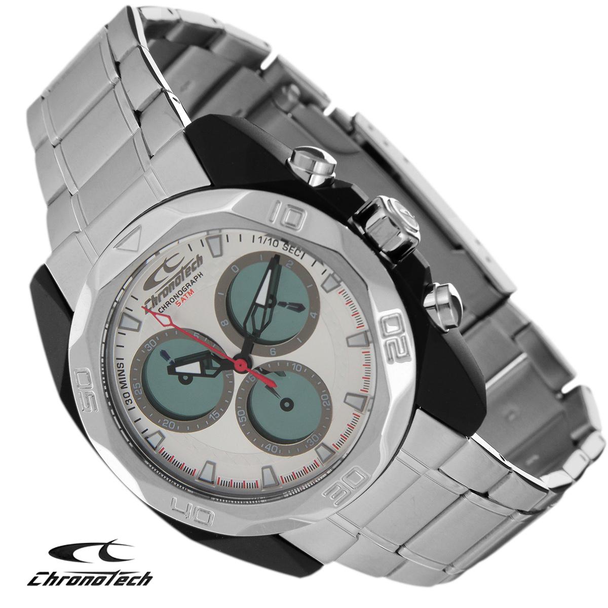 Часы мужские наручные Chronotech, цвет: серебристый. RW0064RW0064Часы Chronotech - это часы для современных и стильных людей, которые стремятся выделиться из толпы и подчеркнуть свою индивидуальность. Корпус часов выполнен из нержавеющей стали с покрытием поликарбонатом. Циферблат оформлен отметками и защищен минеральным стеклом. Часы имеют три стрелки - часовую, минутную и секундную. Стрелки и отметки светятся в темноте. Часы оснащены функцией хронографа и имеют секундомер. Браслет часов выполнен из нержавеющей стали и застегивается на раскладывающуюся застежку. Часы упакованы в фирменную коробку с логотипом компании Chronotech. Такой аксессуар добавит вашему образу стиля и подчеркнет безупречный вкус своего владельца. Характеристики: Диаметр циферблата: 3,3 см. Размер корпуса: 4,3 см х 4,8 см х 1,2 см. Длина браслета (с корпусом): 29 см. Ширина браслета: 2 см.