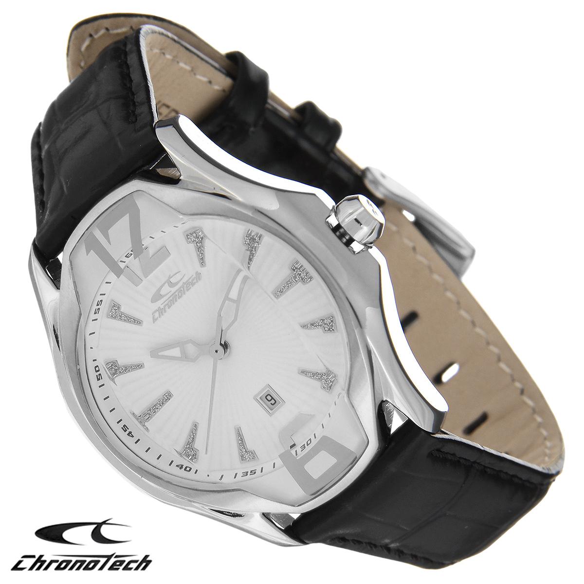 Часы женские наручные Chronotech, цвет: черный, серебристый. RW0026RW0026Часы Chronotech - это часы для современных и стильных девушек, которые стремятся выделиться из толпы и подчеркнуть свою индивидуальность. Корпус часов выполнен из нержавеющей стали. Циферблат оформлен отметками, декорированными блестками, и защищен минеральным стеклом. Часы имеют три стрелки - часовую, минутную и секундную. Стрелки светятся в темноте. Часы имеют индикатор даты. Ремешок часов выполнен из натуральной кожи и застегивается на классическую застежку. Часы упакованы в фирменную коробку с логотипом компании Chronotech. Такой аксессуар добавит вашему образу стиля и подчеркнет безупречный вкус своей владелицы. Характеристики: Диаметр циферблата: 2,9 см. Размер корпуса: 3,5 см х 4,3 см х 1 см. Длина ремешка (с корпусом): 23 см. Ширина ремешка: 1,7 см.