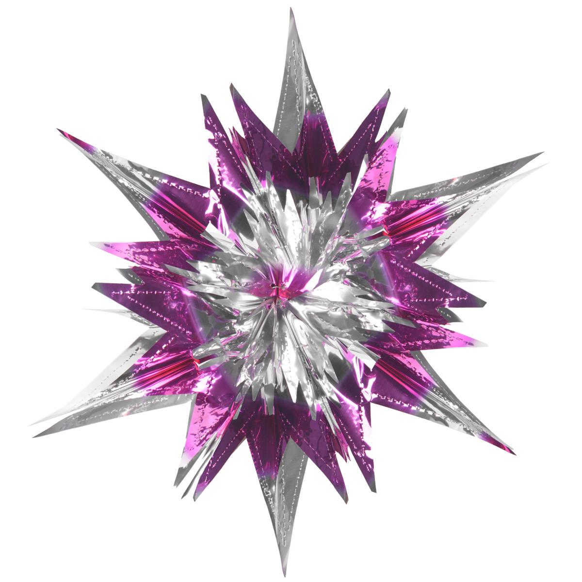 Новогоднее подвесное украшение Звезда, цвет: серебристый, сиреневый. 2700927009Новогоднее украшение Звезда отлично подойдет для декорации вашего дома и новогодней ели. Украшение выполнено из ПВХ в форме многогранной многоцветной звезды. С помощью специальной петельки звезду можно повесить в любом понравившемся вам месте. Украшение легко складывается и раскладывается благодаря металлическим кольцам. Новогодние украшения несут в себе волшебство и красоту праздника. Они помогут вам украсить дом к предстоящим праздникам и оживить интерьер по вашему вкусу. Создайте в доме атмосферу тепла, веселья и радости, украшая его всей семьей. Коллекция декоративных украшений из серии Magic Time принесет в ваш дом ни с чем не сравнимое ощущение волшебства! Размер украшения (в сложенном виде): 25 см х 21,5 см.
