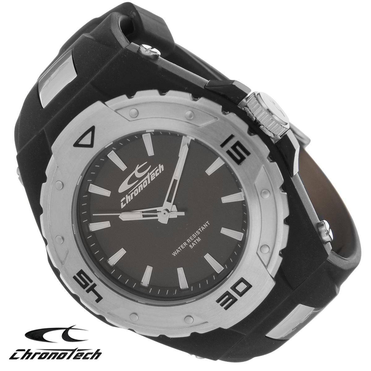 Часы мужские наручные Chronotech, цвет: черный. RW0019RW0019Часы Chronotech - это часы для современных и стильных людей, которые стремятся выделиться из толпы и подчеркнуть свою индивидуальность. Корпус часов выполнен из нержавеющей стали с покрытием поликарбонатом. Циферблат оформлен отметками и защищен минеральным стеклом. Часы имеют три стрелки - часовую, минутную и секундную. Стрелки и отметки светятся в темноте. Ремешок часов выполнен из каучука и застегивается на классическую застежку. Часы выполнены в спортивном стиле. Часы упакованы в фирменную коробку с логотипом компании Chronotech. Такой аксессуар добавит вашему образу стиля и подчеркнет безупречный вкус своего владельца. Характеристики: Диаметр циферблата: 3,1 см. Размер корпуса: 5 см х 5 см х 1,1 см. Длина ремешка (с корпусом): 22 см. Ширина ремешка: 2,2 см.