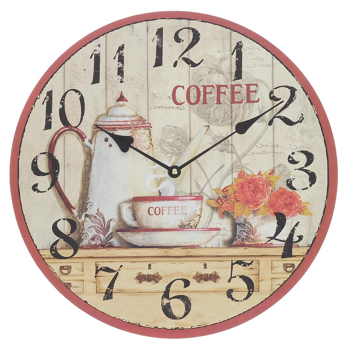 Часы настенные КофеBL09B3431Настенные часы Кофе, выполненные из дерева, прекрасно украсят интерьер вашего помещения. Циферблат круглой формы декорирован оригинальным изображением и имеет две стрелки - часовую и минутную. Оформите свой дом таким интерьерным аксессуаром или преподнесите его в качестве презента друзьям, и они оценят ваш оригинальный вкус и неординарность подарка.