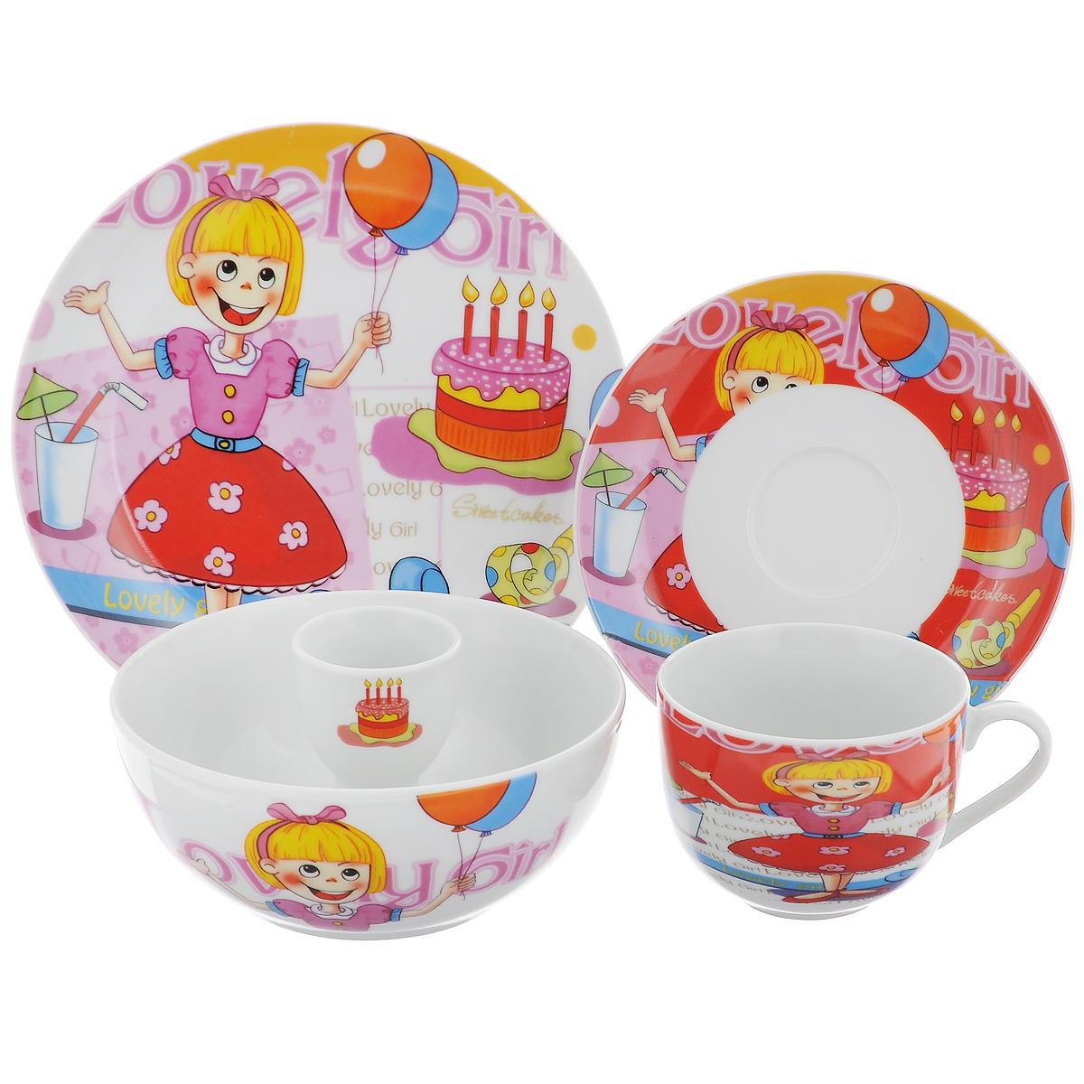 Набор посуды Девочка с шариком, 5 предметовGC09613Набор посуды Девочка с шариком состоит из чашки, блюдца, тарелки, миски и подставки для яйца. Изделия выполнены из высококачественного фарфора, оформленного красочным изображением девочки с шариком и праздничного торта. Набор посуды Девочка с шариком прекрасно подойдет для вашего ребенка. В нем есть вся необходимая посуда для завтраков, обедов и ужинов. Красивый дизайн порадует малыша и превратит прием пищи в веселое занятие. Изделия можно мыть в посудомоечной машине и использовать в микроволновой печи.