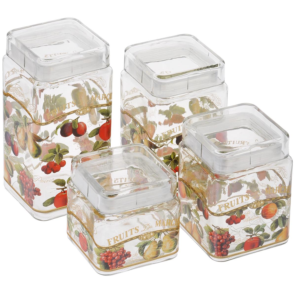 Набор банок для сыпучих продуктов Sinoglass Фрукты, 4 шт9356F60Набор Sinoglass Фрукты состоит из четырех банок разного объема, предназначенных для хранения сыпучих продуктов. Изделия выполнены из высококачественного стекла и украшены изображением фруктов. Герметичные крышки с силиконовыми прослойками дольше сохраняют продукты свежими и сухими. Банки идеальны для хранения круп, макарон, чая, кофе, сахара, орехов и других сыпучих продуктов. Благодаря прозрачным стенкам, можно видеть содержимое банок. Такой набор стильно дополнит интерьер кухни и станет незаменимым помощником в приготовлении ваших любимых блюд. Высота банок: 11 см; 15 см; 19 см; 23 см. Размер основания банок: 11 см х 11 см. Объем банок: 2.1 л, 1.68 л, 1.24 л, 0.8 л.