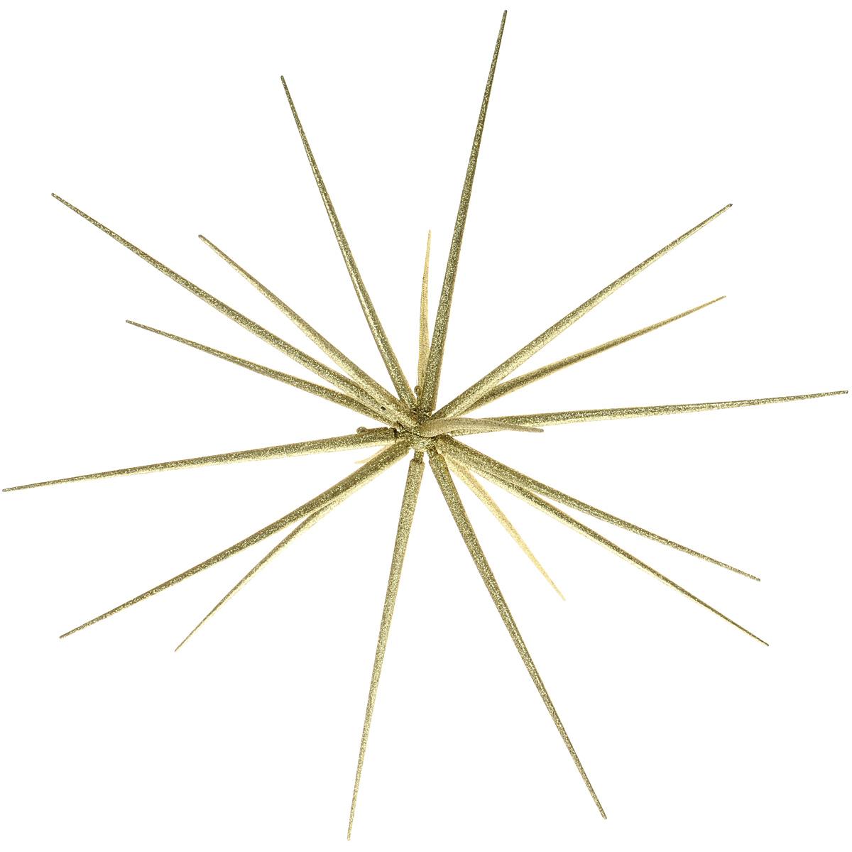 Новогоднее подвесное украшение Орнамент, цвет: золотистый. DB130117GDB130117GНовогоднее подвесное украшение Орнамент выполнено из высококачественного пластика в форме многоконечной звезды и декорировано блестками. Игрушка состоит из основания и длинных наконечников. С помощью специальной текстильной петельки украшение можно повесить в любом понравившемся вам месте. Но удачнее всего такая игрушка будет смотреться на праздничной елке. Елочная игрушка - символ Нового года. Она несет в себе волшебство и красоту праздника. Создайте в своем доме атмосферу веселья и радости, украшая новогоднюю елку нарядными игрушками, которые будут из года в год накапливать теплоту воспоминаний. Диаметр игрушки (в собранном виде): 55 см. Длина наконечника: 29 см. Количество наконечников: 20 шт.