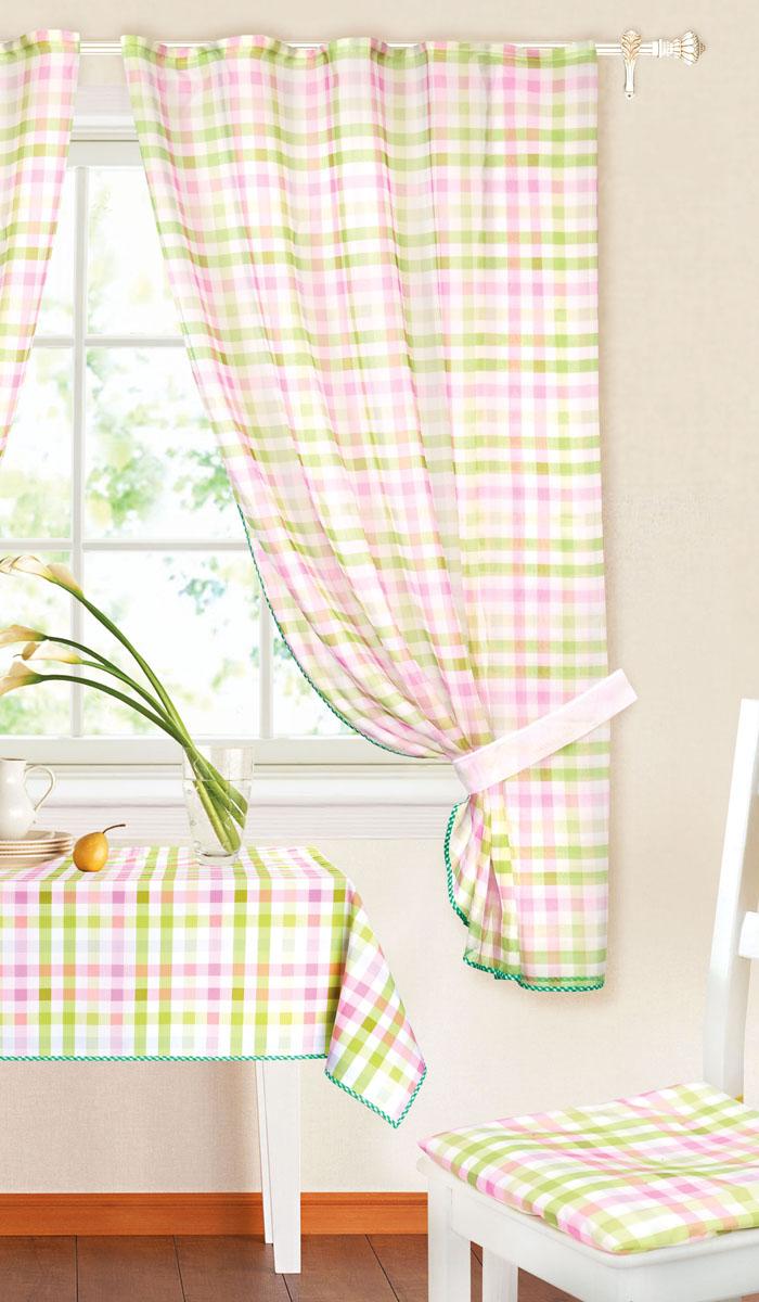 Комплект штор Garden, на ленте, цвет: зеленый, сиреневый, размер 145*180 см. c 8225w191 v8c 8225w191 v8Роскошный комплект тюлевых штор Garden, выполненный из вуали (полиэстера_, великолепно украсит любое окно. Комплект состоит из двух штор, декорированных принтов в клетку. Воздушная ткань и приятная, приглушенная гамма привлекут к себе внимание и органично впишутся в интерьер помещения. Этот комплект будет долгое время радовать вас и вашу семью! Шторы крепятся на карниз при помощи ленты, которая поможет красиво и равномерно задрапировать верх. Шторы можно зафиксировать в одном положении с помощью двух подхватов. В комплект входит: Штора: 2 шт. Размер (Ш х В): 145 см х 180 см. Подхват: 2 шт. Размер (Д х Ш): 72 см х 5 см.
