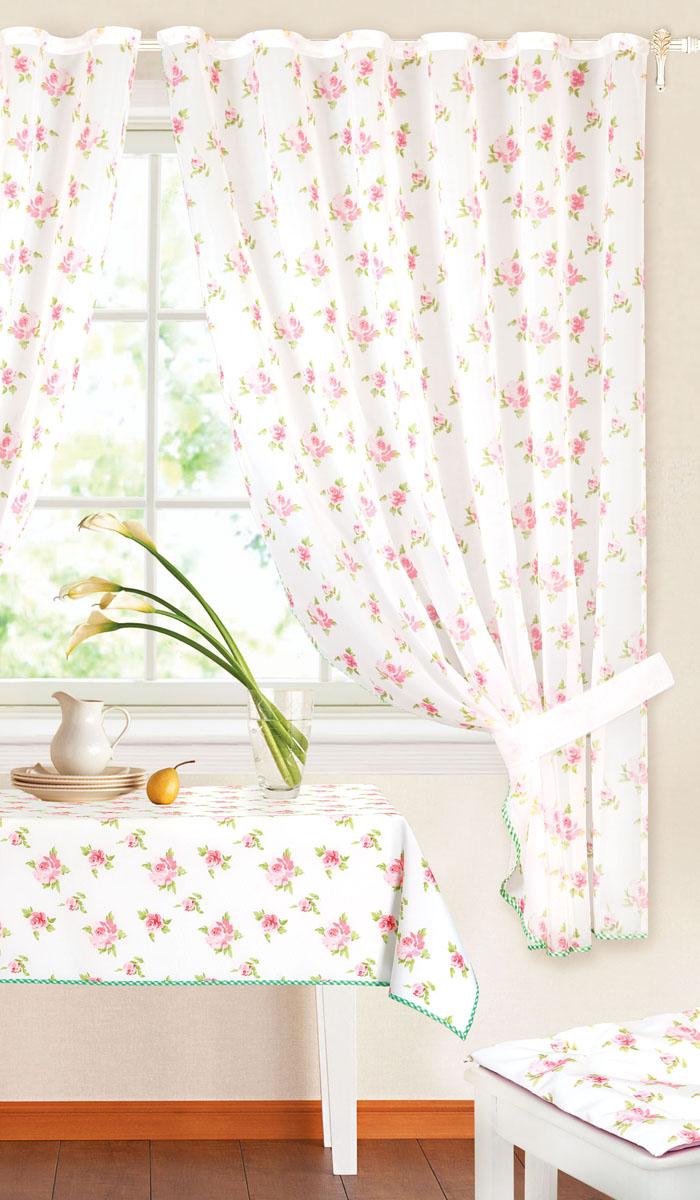 Комплект штор Garden, на ленте, цвет: розовый, размер 145*180 см. c 7255 w191 v25c 7255 w191 v25Роскошный комплект тюлевых штор Garden, выполненный из вуали (полиэстера), великолепно украсит любое окно. Комплект состоит из двух штор, декорированных цветочным принтом. Воздушная ткань и приятная, приглушенная гамма привлекут к себе внимание и органично впишутся в интерьер помещения. Этот комплект будет долгое время радовать вас и вашу семью! Шторы крепятся на карниз при помощи ленты, которая поможет красиво и равномерно задрапировать верх. Шторы можно зафиксировать в одном положении с помощью двух подхватов. В комплект входит: Штора: 2 шт. Размер (Ш х В): 145 см х 180 см. Подхват: 2 шт. Размер (Д х Ш): 68 см х 4 см.