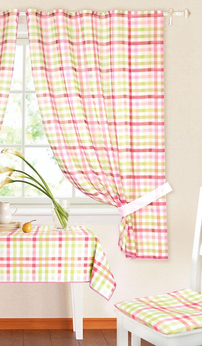 Комплект штор Garden, на ленте, цвет: зеленый, розовый, размер 145*180 см. c 8225 w191 v11c 8225 w191 v11Роскошный комплект тюлевых штор Garden, выполненный из вуали (полиэстера_, великолепно украсит любое окно. Комплект состоит из двух штор, декорированных принтов в клетку. Воздушная ткань и приятная, приглушенная гамма привлекут к себе внимание и органично впишутся в интерьер помещения. Этот комплект будет долгое время радовать вас и вашу семью! Шторы крепятся на карниз при помощи ленты, которая поможет красиво и равномерно задрапировать верх. Шторы можно зафиксировать в одном положении с помощью двух подхватов. В комплект входит: Штора: 2 шт. Размер (Ш х В): 145 см х 180 см. Подхват: 2 шт. Размер (Д х Ш): 72 см х 5 см.