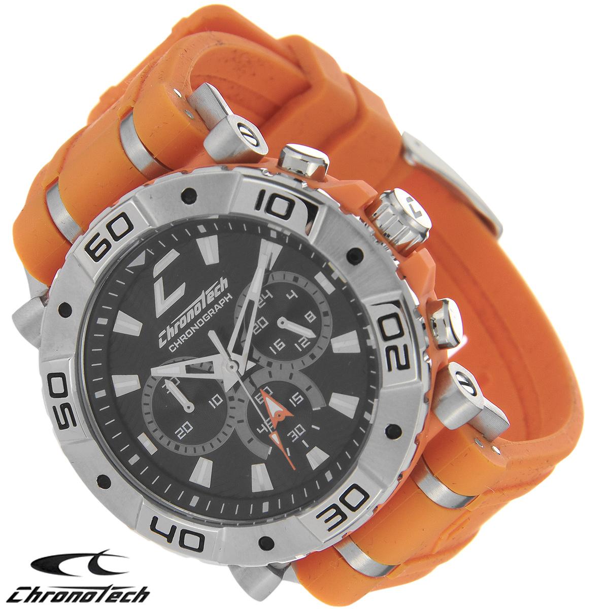 Часы мужские наручные Chronotech, цвет: оранжевый. RW0037RW0037Часы Chronotech - это часы для современных и стильных людей, которые стремятся выделиться из толпы и подчеркнуть свою индивидуальность. Корпус часов выполнен из нержавеющей стали. Циферблат оформлен отметками и защищен минеральным стеклом. Часы имеют три стрелки - часовую, минутную и секундную. Стрелки и отметки светятся в темноте. Ремешок часов выполнен из каучука и застегивается на классическую застежку. Часы выполнены в спортивном стиле. Часы упакованы в фирменную коробку с логотипом компании Chronotech. Такой аксессуар добавит вашему образу стиля и подчеркнет безупречный вкус своего владельца. Характеристики: Диаметр циферблата: 3,3 см. Размер корпуса: 4,5 см х 4 см х 1 см. Длина ремешка (с корпусом): 24,5 см. Ширина ремешка: 2,4 см.