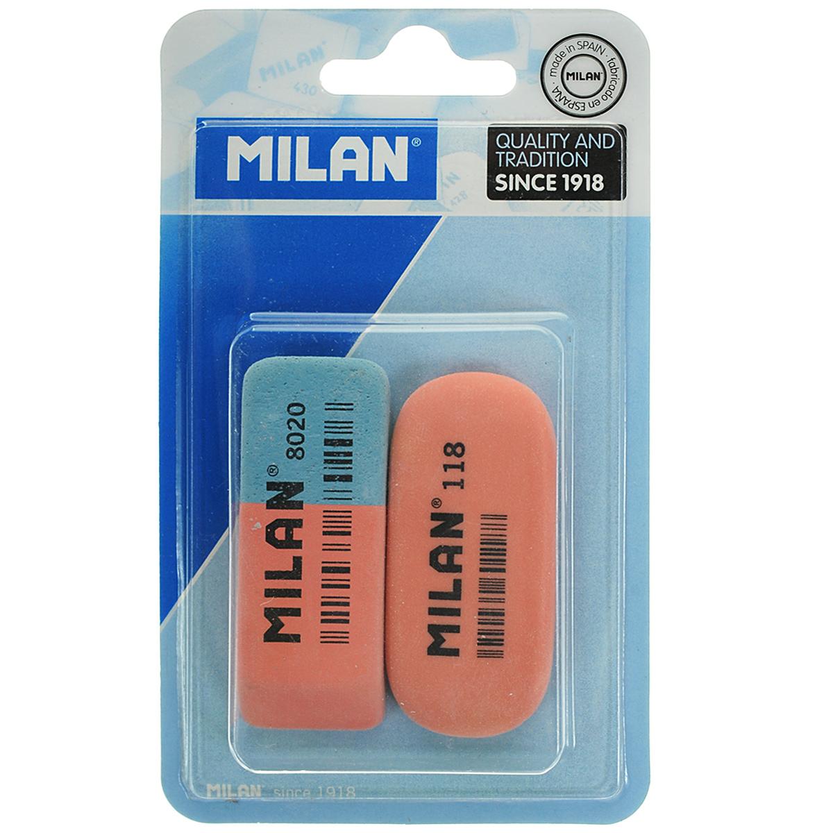 Набор ластиков Milan, 2 шт. 8020+118//92168020+118//9216Ластики из набора Milan предназначены для стирания карандашей и чернил с бумаги различной плотности. Один из ластиков - натуральный. Синяя сторона другого ластика предназначена для работы с цветными пигментами и чернилами, красная - для графитовых надписей. В комплекте два ластика.