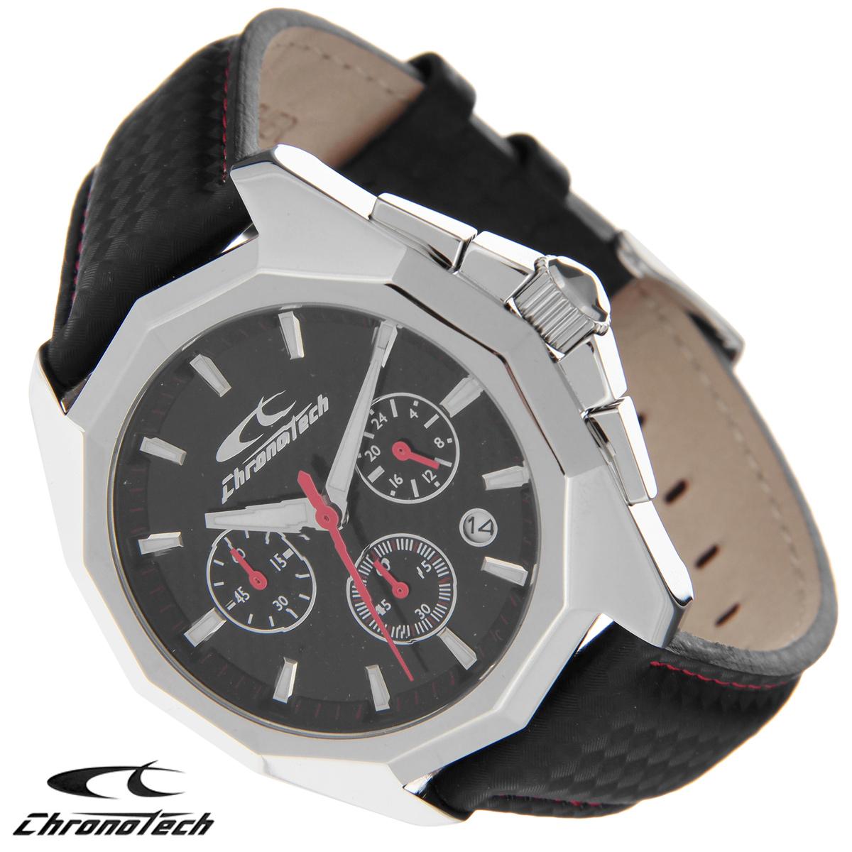 Часы мужские наручные Chronotech, цвет: черный, красный. RW0105RW0105Часы Chronotech - это часы для современных и стильных людей, которые стремятся выделиться из толпы и подчеркнуть свою индивидуальность. Корпус часов выполнен из нержавеющей стали. Циферблат оформлен отметками и защищен минеральным стеклом. Часы имеют три стрелки - часовую, минутную и секундную. Стрелки и отметки светятся в темноте. Часы оснащены функцией хронографа и имеют индикатор даты. Ремешок часов выполнен из натуральной кожи с тиснением и застегивается на классическую застежку. Часы упакованы в фирменную коробку с логотипом компании Chronotech. Такой аксессуар добавит вашему образу стиля и подчеркнет безупречный вкус своего владельца. Характеристики: Диаметр циферблата: 3,5 см. Размер корпуса: 4,6 см х 5 см х 1,1 см. Длина ремешка (с корпусом): 25,5 см. Ширина ремешка: 2 см.