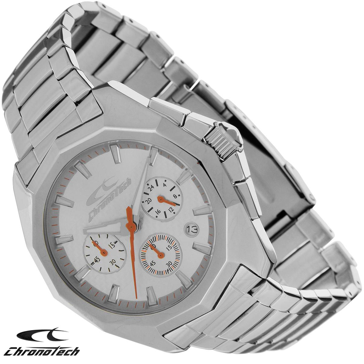 Часы мужские наручные Chronotech, цвет: серебристый. RW0101RW0101Часы Chronotech - это часы для современных и стильных людей, которые стремятся выделиться из толпы и подчеркнуть свою индивидуальность. Корпус часов выполнен из нержавеющей стали. Циферблат оформлен отметками и защищен минеральным стеклом. Часы имеют три стрелки - часовую, минутную и секундную. Стрелки и отметки светятся в темноте. Часы оснащены функцией хронографа и имеют индикатор даты. Браслет часов выполнен из нержавеющей стали и застегивается на раскладывающуюся застежку. Часы упакованы в фирменную коробку с логотипом компании Chronotech. Такой аксессуар добавит вашему образу стиля и подчеркнет безупречный вкус своего владельца. Характеристики: Диаметр циферблата: 3,5 см. Размер корпуса: 4,6 см х 5 см х 1,1 см. Длина браслета (с корпусом): 27 см. Ширина браслета: 2 см.