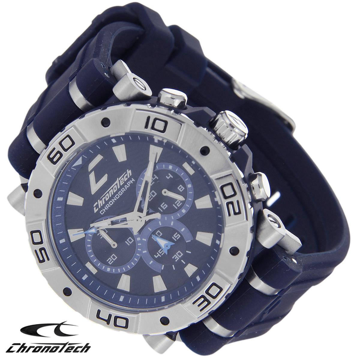 Часы мужские наручные Chronotech, цвет: темно-синий. RW0035 - ChronotechRW0035Часы Chronotech - это часы для современных и стильных людей, которые стремятся выделиться из толпы и подчеркнуть свою индивидуальность. Корпус часов выполнен из нержавеющей стали. Циферблат оформлен отметками и защищен минеральным стеклом. Часы имеют три стрелки - часовую, минутную и секундную. Стрелки и отметки светятся в темноте. Ремешок часов выполнен из каучука и застегивается на классическую застежку. Часы выполнены в спортивном стиле. Часы упакованы в фирменную коробку с логотипом компании Chronotech. Такой аксессуар добавит вашему образу стиля и подчеркнет безупречный вкус своего владельца. Характеристики: Диаметр циферблата: 3,3 см. Размер корпуса: 4,5 см х 4 см х 1 см. Длина ремешка (с корпусом): 24,5 см. Ширина ремешка: 2,4 см.