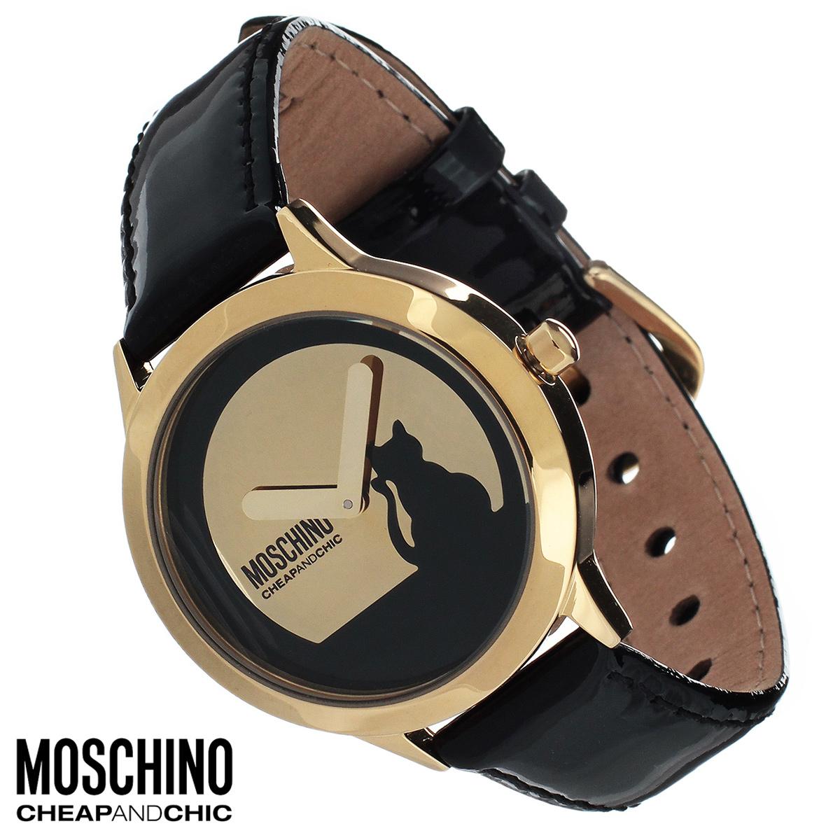"""Часы женские наручные Moschino, цвет: черный. MW0078MW0078Наручные часы от известного итальянского бренда Moschino - это не только стильный и функциональный аксессуар, но и современные технологи, сочетающиеся с экстравагантным дизайном и индивидуальностью. Часы Moschino оснащены кварцевым механизмом. Корпус выполнен из высококачественной нержавеющей стали с PVD-покрытием. Циферблат оформлен изображением силуэта кошки, надписью """"Moschino. Cheap and Chic"""" и защищен минеральным стеклом. Часы имеют две стрелки - часовую и минутную. Ремешок часов выполнен из натуральной кожи и застегивается на классическую застежку. Часы упакованы в фирменную металлическую коробку с логотипом бренда. Часы Moschino благодаря своему уникальному дизайну отличаются от часов других марок своеобразными циферблатами, функциональностью, а также набором уникальных технических свойств. Каждой модели присуща легкая экстравагантность, самобытность и, безусловно, великолепный вкус. Характеристики: Диаметр циферблата:..."""