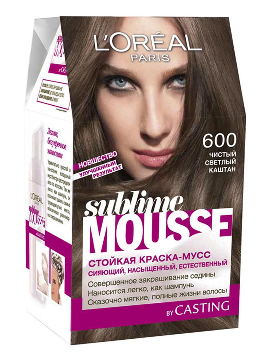 LOreal Paris Краска для волос Sublime Mousse, оттенок 600, Чистый светлый каштан, 209 млA6311900