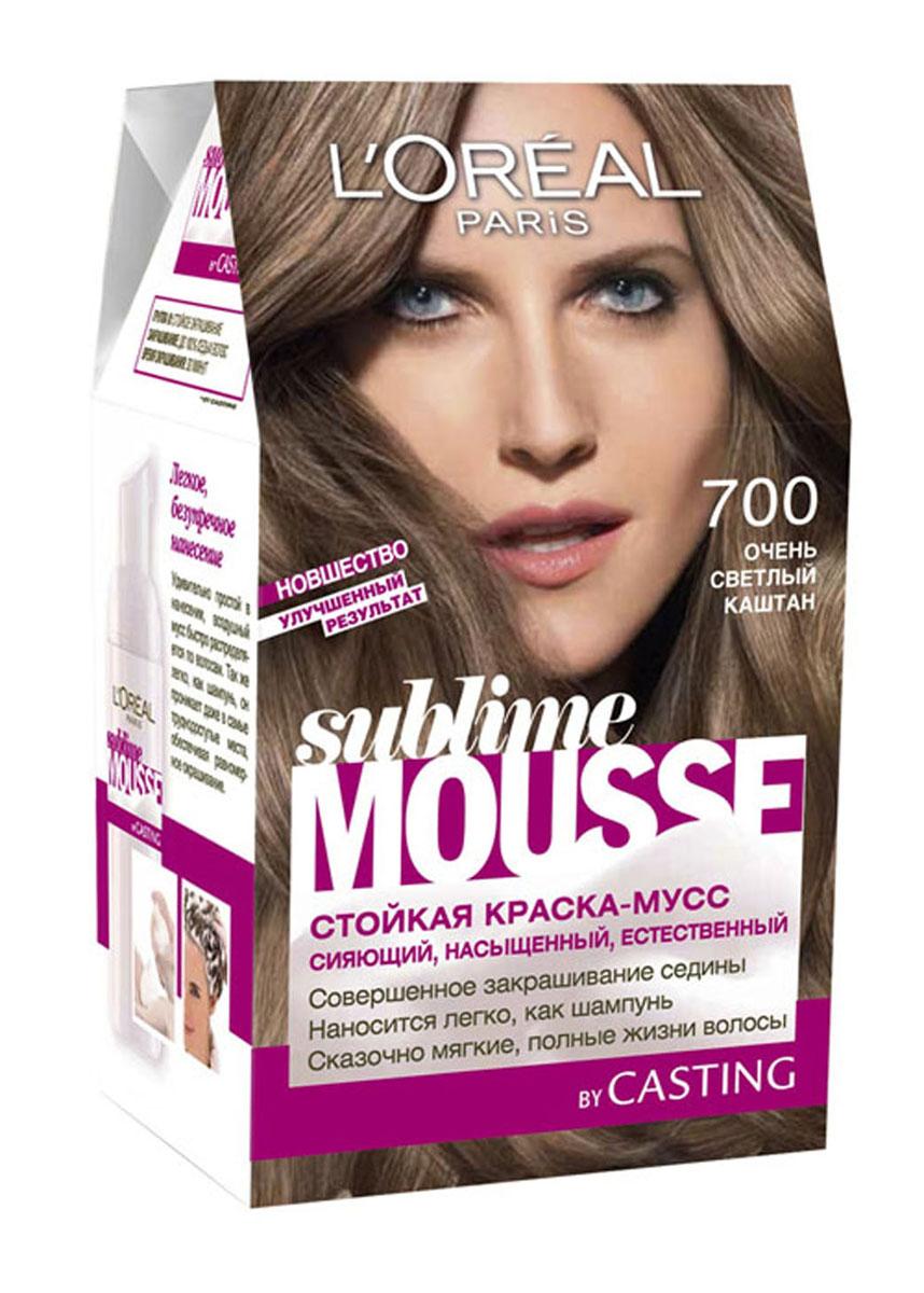 LOreal Paris Краска для волос Sublime Mousse, оттенок 700, Очень светлый каштан, 209 млA6312100