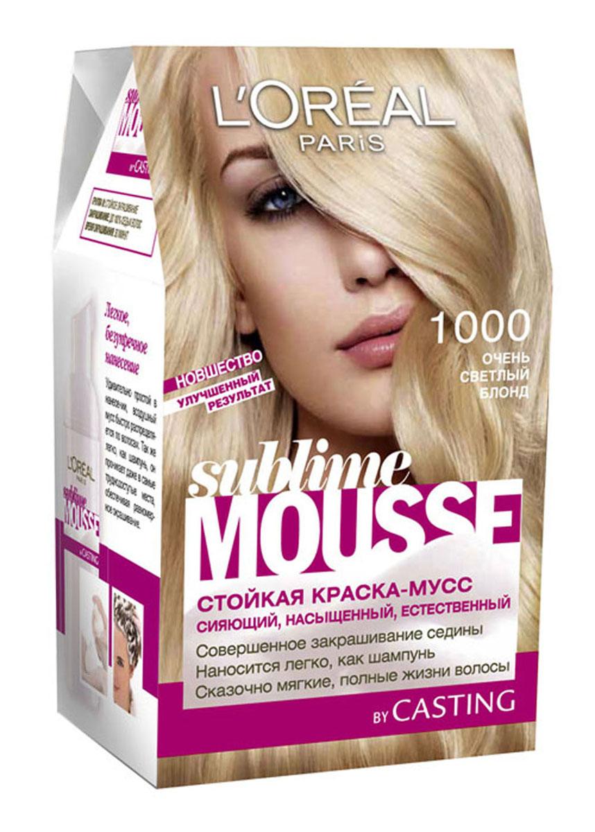 LOreal Paris Краска для волос Sublime Mousse, оттенок 1000, Очень светлый блонд, 209 млA6013401
