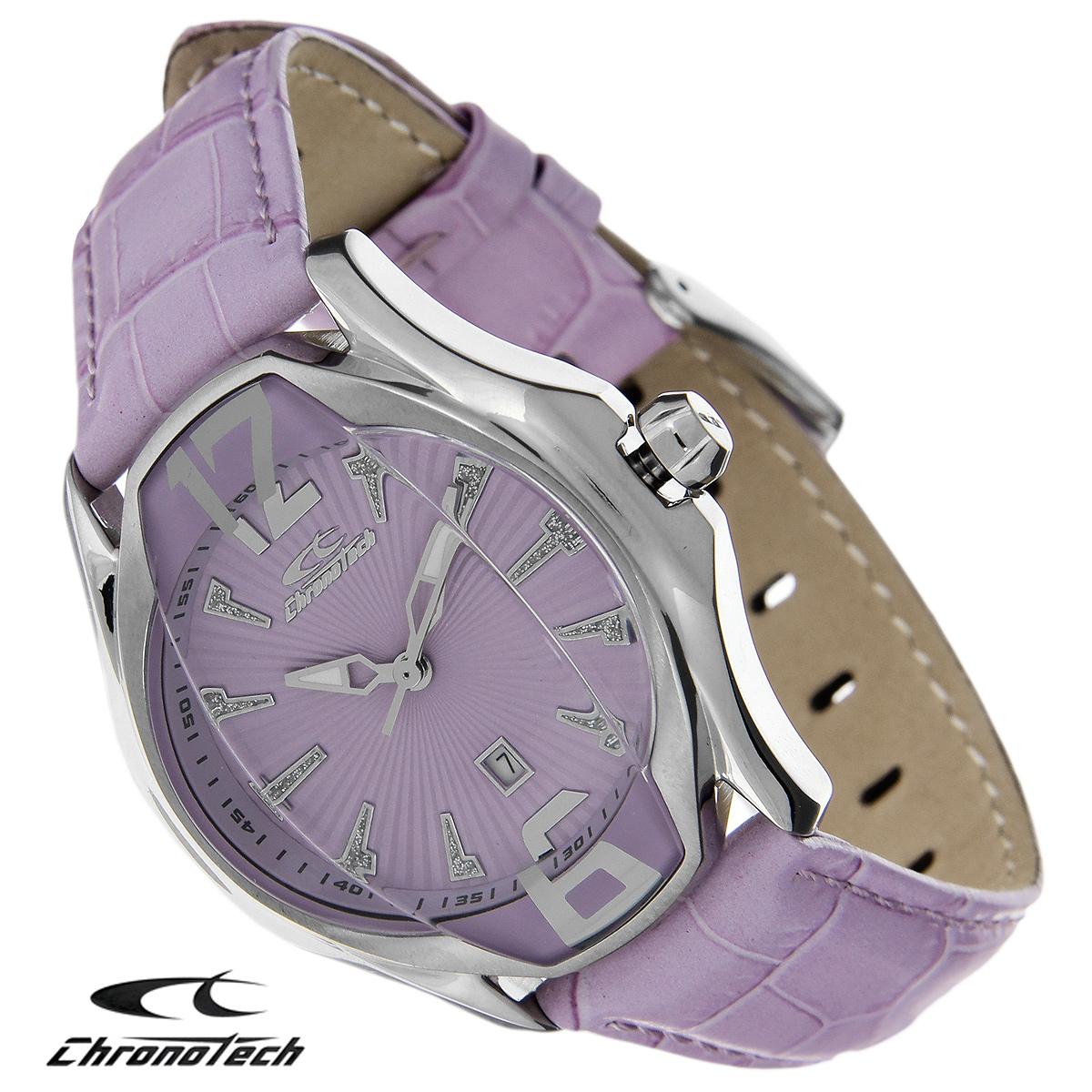 Часы женские наручные Chronotech, цвет: сиреневый. RW0028RW0028Часы Chronotech - это часы для современных и стильных девушек, которые стремятся выделиться из толпы и подчеркнуть свою индивидуальность. Корпус часов выполнен из нержавеющей стали. Циферблат оформлен отметками, декорированными блестками, и защищен минеральным стеклом. Часы имеют три стрелки - часовую, минутную и секундную. Стрелки светятся в темноте. Часы имеют индикатор даты. Ремешок часов выполнен из натуральной кожи и застегивается на классическую застежку. Часы упакованы в фирменную коробку с логотипом компании Chronotech. Такой аксессуар добавит вашему образу стиля и подчеркнет безупречный вкус своей владелицы. Характеристики: Диаметр циферблата: 2,9 см. Размер корпуса: 3,5 см х 4,3 см х 1 см. Длина ремешка (с корпусом): 23 см. Ширина ремешка: 1,7 см.