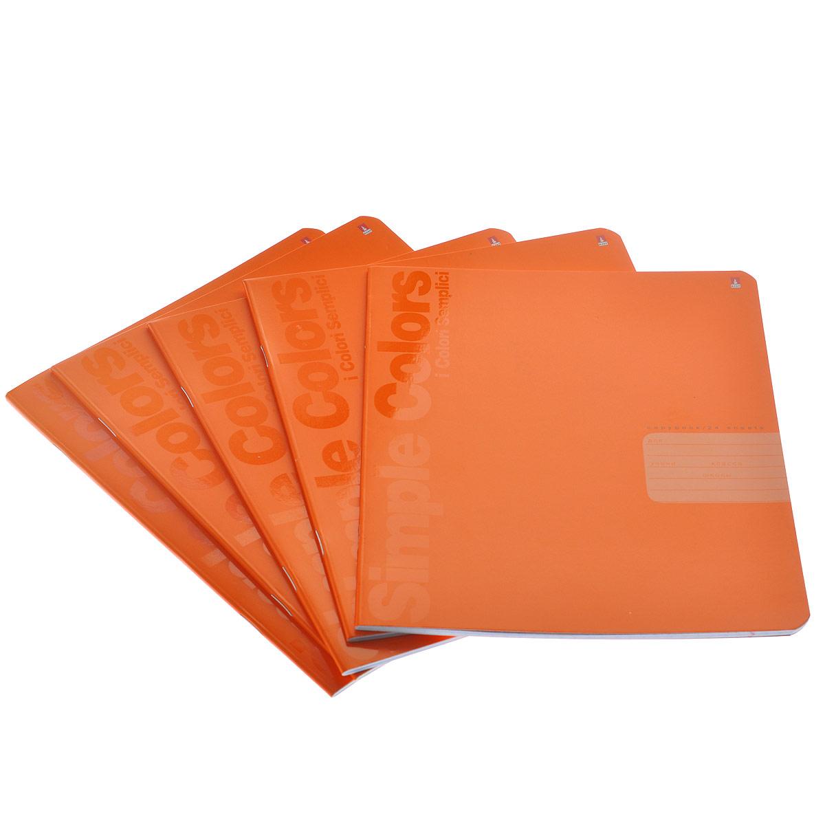 Набор тетрадей Альт Простые цвета, цвет: оранжевый, 5 шт7-24-773/1 оранжевыйТетради из набора Альт Простые цвета идеально подойдут для занятий школьнику или студенту. Обложки, выполненные из яркого мелованного картона, позволят сохранить тетради в аккуратном состоянии на протяжении всего времени использования. Лицевая сторона оформлена двумя вертикальными надписями: Simple Colors и i Colori Semplici. Внутренний блок состоит из 24 листов белой бумаги в синюю клетку. Комплект включает в себя 5 тетрадей.