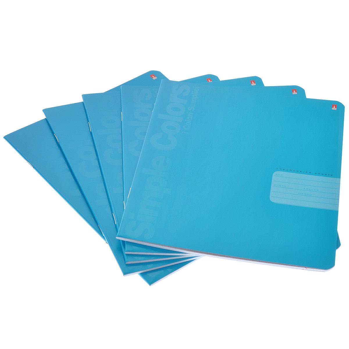 Набор тетрадей Альт Простые цвета, цвет: голубой, 5 шт7-24-773/1 голубойТетради из набора Альт Простые цвета идеально подойдут для занятий школьнику или студенту. Обложки, выполненные из яркого мелованного картона, позволят сохранить тетради в аккуратном состоянии на протяжении всего времени использования. Лицевая сторона оформлена двумя вертикальными надписями: Simple Colors и i Colori Semplici. Внутренний блок состоит из 24 листов белой бумаги в синюю клетку. Комплект включает в себя 5 тетрадей.