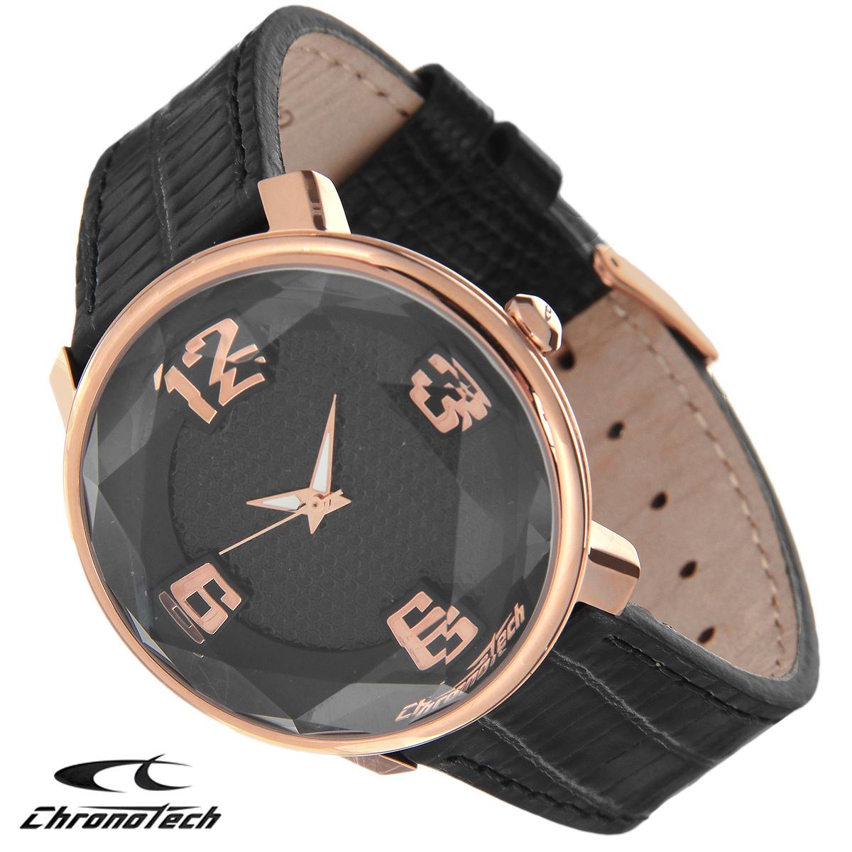 Часы женские наручные Chronotech, цвет: черный, золотой. RW0096RW0096Часы Chronotech - это часы для современных и стильных девушек, которые стремятся выделиться из толпы и подчеркнуть свою индивидуальность. Корпус часов выполнен из нержавеющей стали с PVD-покрытием. Циферблат оформлен арабскими цифрами и защищен минеральным стеклом с огранкой. Часы имеют три стрелки - часовую, минутную и секундную. Стрелки светятся в темноте. Ремешок часов выполнен из натуральной кожи с тиснением и застегивается на классическую застежку. Часы упакованы в фирменную коробку с логотипом компании Chronotech. Такой аксессуар добавит вашему образу стиля и подчеркнет безупречный вкус своей владелицы. Характеристики: Диаметр циферблата: 3,5 см. Размер корпуса: 4 см х 4 см х 1 см. Длина ремешка (с корпусом): 23 см. Ширина ремешка: 1,7 см.