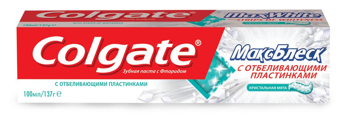 Зубная паста Colgate МаксБлеск, кристальная мята, 100 млFCN89250Зубная паста Colgate МаксБлеск с отбеливающими пластинками освежает дыхание и борется с кариесом. Пластинки, насыщенные отбеливающим ингредиентом, растворяются при чистке зубов. Для впечатляющей эффективной улыбки!