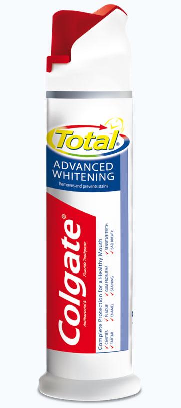 Colgate Зубная паста Total Advanced Whitening, с дозатором, 100 млPL02750AЗубная паста Colgate Total Advanced Whitening эффективно и безопасно отбеливает зубы, удаляя потемнения с поверхности зубов. Используйте пасту Colgate Total Advanced Whitening для отличного здоровья полости рта. Упаковка с дозатором создана для более удобного использования пасты. Товар сертифицирован.
