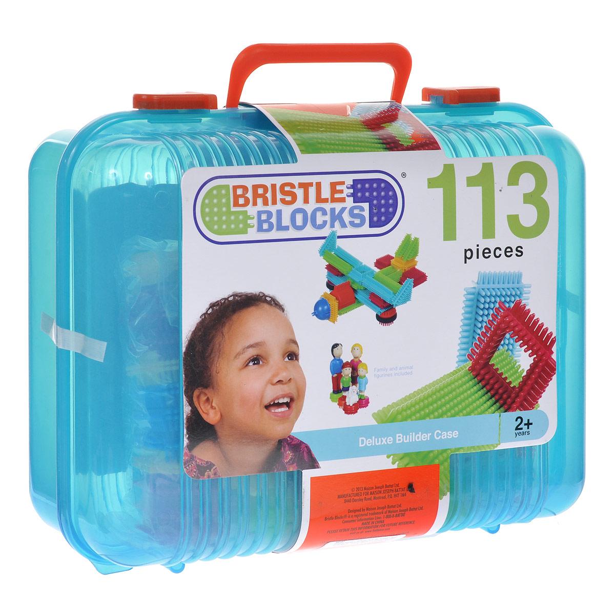 Bristle Blocks Конструктор Deluxe Builder Case68167Оригинальный игольчатый конструктор Battat Bristle Blocks - тактильный детский конструктор, который позволит вашему ребенку проявить фантазию. Игрушки Battat имеют неповторимый дизайн, максимально безопасны и надежны и, что не менее важно, обладают высоким развивающим потенциалом. Увлекательный конструктор состоящий из множества ярких щетинистых блоков разной формы, размеров и цветов. Пластиковые элементы легко и быстро скрепляются, при этом обеспечивая прочное сцепление. Ваш ребенок будет часами сидеть за творческой работой, соединяя необычные игольчатые элементы в уникальные сооружения. А дополнительные фигурки помогут развернуть настоящий игровой сюжет. Комплект включает 104 игольчатых блока и 9 фигурок для сборки конструктора. Конструктор упакован в закрывающийся пластиковый чемоданчик с ручкой, удобный для хранения и переноски. Игольчатый конструктор Battat Bristle Blocks поможет ребенку развить мелкую моторику рук, логическое и пространственное мышление, творческие...