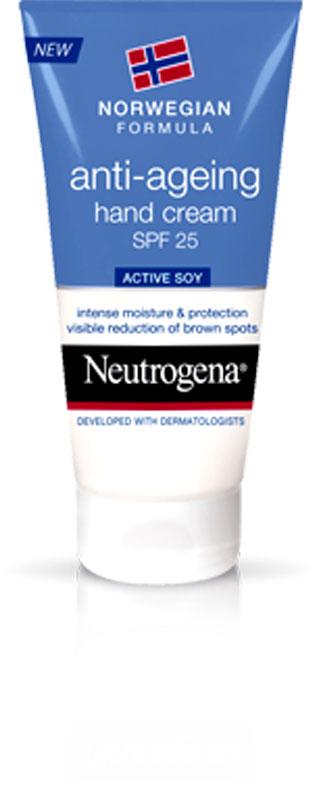 Neutrogena Крем Норвежская Формула, для рук, антивозрастной, с SPF25, 50 мл67057В основе этого продукта лежит запатентованный комплекс Active-SOY, который борется с возникновением пигментных пятен. Средство имеет солнцезащитный фактор SPF 25. Благодаря легкой нежирной формуле оно быстро впитывается и не оставляет следов. Спустя 4 недели применения крема пигментные пятна заметно уменьшаются на 81 %. Этот продукт стал победителем в номинации «Самый лучший крем для рук в 2012 году» по версии Top Sante Health & Beauty Glow Awards (Великобритания). Крем содержит солнцезащитный фактор SPF 25, который защищает Ваши руки от вредного воздействия солнечных лучей. Клинически доказано, что формула с active soy предотвращает появление пигментных пятен и сокращает морщины. Товар сертифицирован.