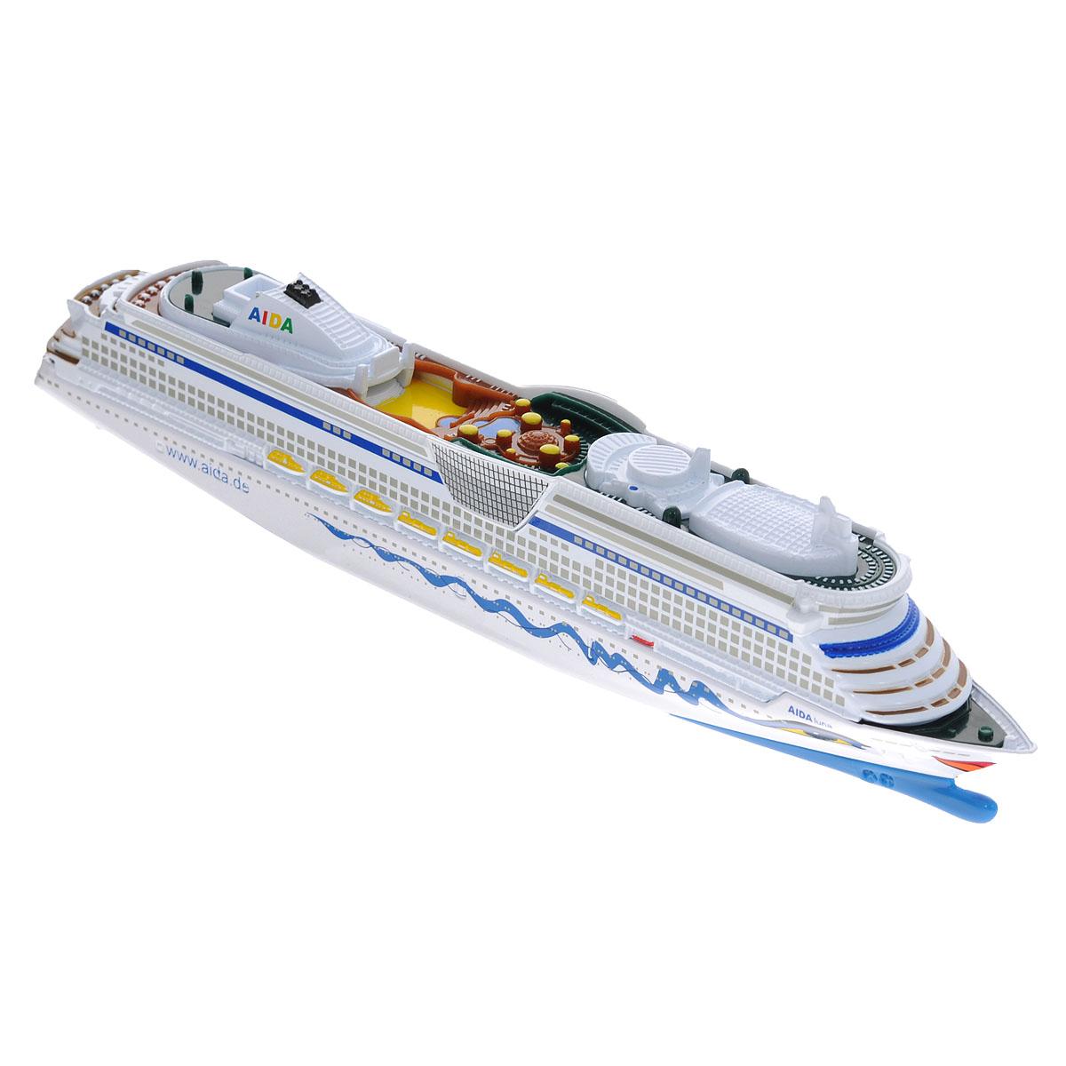 Siku Круизный лайнер AIDA Luna1720Коллекционная модель Siku Круизный лайнер выполнена в виде точной копии одного из круизных лайнеров немецкой туристической компании Aida в масштабе 1/1400. Лайнер совершает путешествия по Северному и Балтийскому морям, а также выходит на просторы Атлантического океана. Модель отличается высоким уровнем детализации. Лайнер выполнен из прочного пластика, а днище из металла. Корпус лайнера оформлен фирменными рисунками туристической компании - глазками и губами, расплывшимися в улыбке. Коллекционная модель станет не только интересной игрушкой для ребенка, но и займет достойное место в коллекции. Порадуйте его таким замечательным подарком!