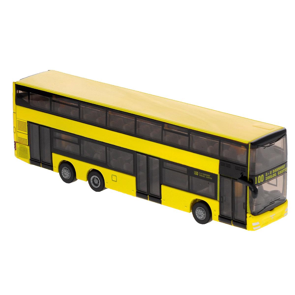 Siku Городской двухэтажный автобус MAN1884Коллекционная модель Siku Городской двухэтажный автобус выполнена в виде точной копии двухэтажного городского автобуса Man в масштабе 1/87. Такая модель понравится не только ребенку, но и взрослому коллекционеру, и приятно удивит вас высочайшим качеством исполнения. Модель выполнена из металла с элементами из пластика; прорезиненные колеса крутятся. Коллекционная модель станет не только интересной игрушкой для ребенка, но и займет достойное место в коллекции. Порадуйте его таким замечательным подарком!