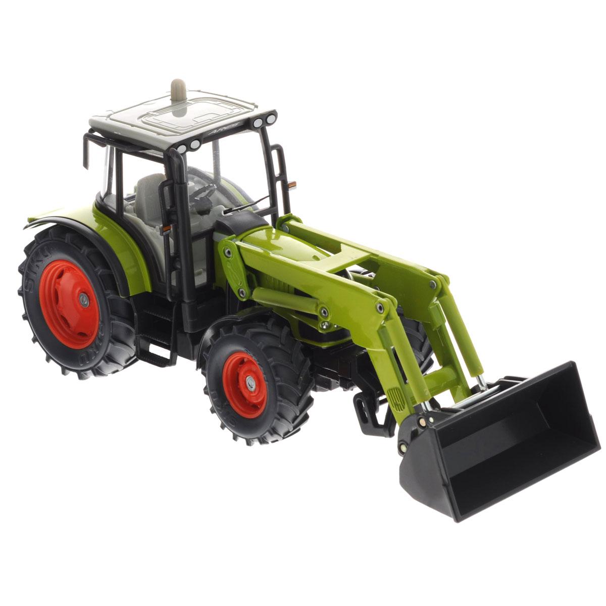 Siku Трактор с фронтальным погрузчиком Claas Ares3656Игрушечная модель фронтальный погрузчик CLAAS, корпус трактора выполнен из металла, кабина трактора из пластмассы, стёкла из прозрачной пластмассы, колёса трактора выполнены из резины, можно катать. Зеркала заднего вида складываются. Передние колёса поворачиваются. Стрела и ковш поднимаются и опускаются. Трактор оборудован сцепным устройством совместимым с прицепами и навесным оборудованием SIKU FARMER масштаба 1:32. Вместо ковша на стрелу можно установить дополнительное оборудование из набора SIKU 7070.