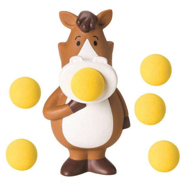 Игрушка Hog Wild Squeeze Popper: Пони, с шариками54312Игрушка Hog Wild Squeeze Popper: Пони выполнена из безопасного материала в виде забавного пони. Также в комплект входят 6 мягких шариков из вспененного полимера и текстильная сетка для их хранения. Для запуска необходимо вставить шарик в рот пони и нажать на живот игрушки. Чем сильнее нажатие - тем дальше выстреливает шарик. С этим ярким увлекательным набором можно устроить настоящие соревнования и выяснить, кто же сможет дальше добросить шарик. Игрушка поможет ребенку в развитии меткости, ловкости, координации движений и сноровки.