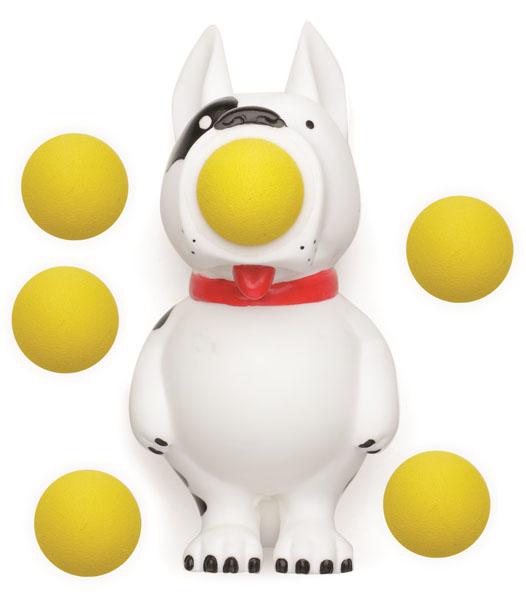 Игрушка Hog Wild Squeeze Popper: Собака, с шариками54330Игрушка Hog Wild Squeeze Popper: Собака выполнена из безопасного материала в виде забавной собачки. Также в комплект входят 6 мягких шариков из вспененного полимера и текстильная сетка для их хранения. Для запуска необходимо вставить шарик в рот собаки и нажать на ее живот. Чем сильнее нажатие - тем дальше выстреливает шарик. С этим ярким увлекательным набором можно устроить настоящие соревнования и выяснить, кто же сможет дальше добросить шарик. Игрушка поможет ребенку в развитии меткости, ловкости, координации движений и сноровки.
