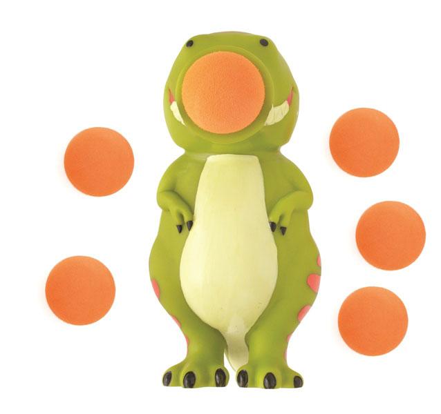 Игрушка Hog Wild Squeeze Popper: Динозавр, с шариками54360Игрушка Hog Wild Squeeze Popper: Динозавр выполнена из безопасного материала в виде забавного динозаврика. Также в комплект входят 6 мягких шариков из вспененного полимера и текстильная сетка для их хранения. Для запуска необходимо вставить шарик в рот динозаврика и нажать на его живот. Чем сильнее нажатие - тем дальше выстреливает шарик. С этим ярким увлекательным набором можно устроить настоящие соревнования и выяснить, кто же сможет дальше добросить шарик. Игрушка поможет ребенку в развитии меткости, ловкости, координации движений и сноровки.