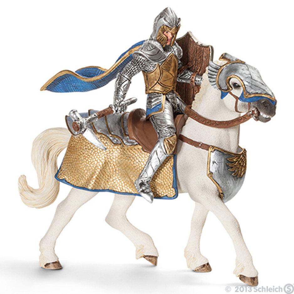 Schleich Фигурка Рыцарь на коне Орден Грифона70108Фигурка Schleich Рыцарь на коне. Орден Грифона станет прекрасным подарком для вашего ребенка. Она выполнена из каучукового пластика. Детали фигурки четкие и максимально детализированы, что привлечет внимание ребенка, который с огромным удовольствием будет играть с ней в ролевые игры. Фигурка разъемная и ваш ребенок может играть отдельно как с рыцарем, так и с лошадью. Всадник надежно крепится к лошади с помощью магнитов, встроенных в фигурки. Оружие может выниматься из руки. Такая фигурка непременно понравится вашему ребенку и станет замечательным украшением любой коллекции. Этот рыцарь Ордена Грифона вооружен необычным оружием, молотом в форме клюва хищной птицы. Воин сам изготовил для себя это орудие, которому нет равных. Никто не может сравниться с этим рыцарем по силе удара, только завидев его издали, соперники обращаются в бегство.