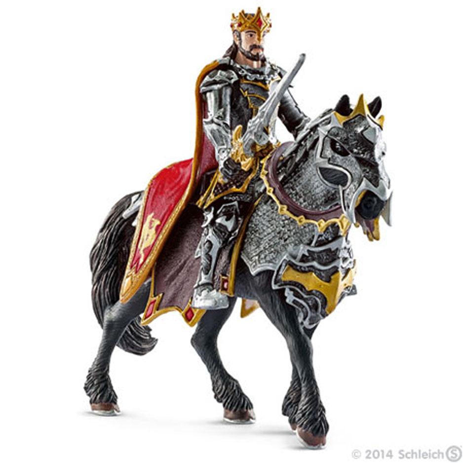 Фигурка Schleich Рыцарь Драконов. Король на лошади, 15 см70115Фигурка Schleich Рыцарь Драконов. Король на лошади станет прекрасным подарком для вашего ребенка. Она выполнена из каучукового пластика. Детали фигурки четкие и максимально детализированы, что привлечет внимание ребенка, который с огромным удовольствием будет играть с ней в ролевые игры. Фигурка разъемная и ваш ребенок может играть отдельно как с королем, так и с лошадью. Всадник надежно крепится к лошади с помощью магнитов, встроенных в фигурки. Рука с мечем подвижна в плече. Такая фигурка непременно понравится вашему ребенку и станет замечательным украшением любой коллекции. Король рыцарей славится своим мужеством и знанием боевых навыков. За спиной у него - красный плащ, в руке - красивый средневековый меч. Король сидит в седле верхом на коне, который также облачен в доспехи.