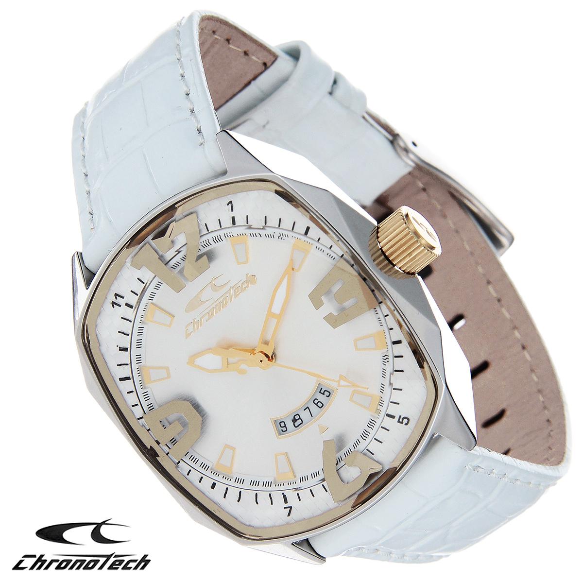 Часы женские наручные Chronotech, цвет: серебристый, белый. RW0053RW0053Часы Chronotech - это часы для современных и стильных девушек, которые стремятся выделиться из толпы и подчеркнуть свою индивидуальность. Корпус часов выполнен из нержавеющей стали. Циферблат оформлен арабскими цифрами и отметками и защищен минеральным стеклом с огранкой. Часы имеют три стрелки - часовую, минутную и секундную. Часы имеют индикатор даты. Стрелки и отметки светятся в темноте. Ремешок часов выполнен из натуральной кожи с тиснением и застегивается на классическую застежку. Часы упакованы в фирменную коробку с логотипом компании Chronotech. Такой аксессуар добавит вашему образу стиля и подчеркнет безупречный вкус своей владелицы. Характеристики: Размер циферблата: 3,1 см х 3,7 см. Размер корпуса: 3,5 см х 3,8 см х 1,1 см. Длина ремешка (с корпусом): 22,5 см. Ширина ремешка: 1,8 см.