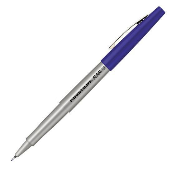 Роллер FLAIR UF, металлич. корпус, с колпачком, быстросохнущие чернила, синий 0,8 мм