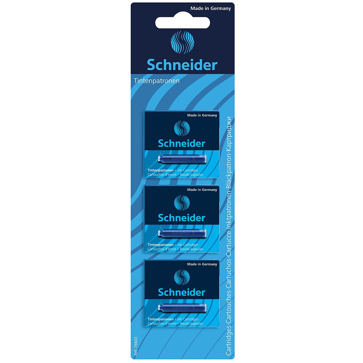 Набор картриджей с чернилами синего цвета (18 шт.) в блистере.S76603Картриджи с чернилами в стандартном размере подходят для ручек Schneider, а также для многих других марок.