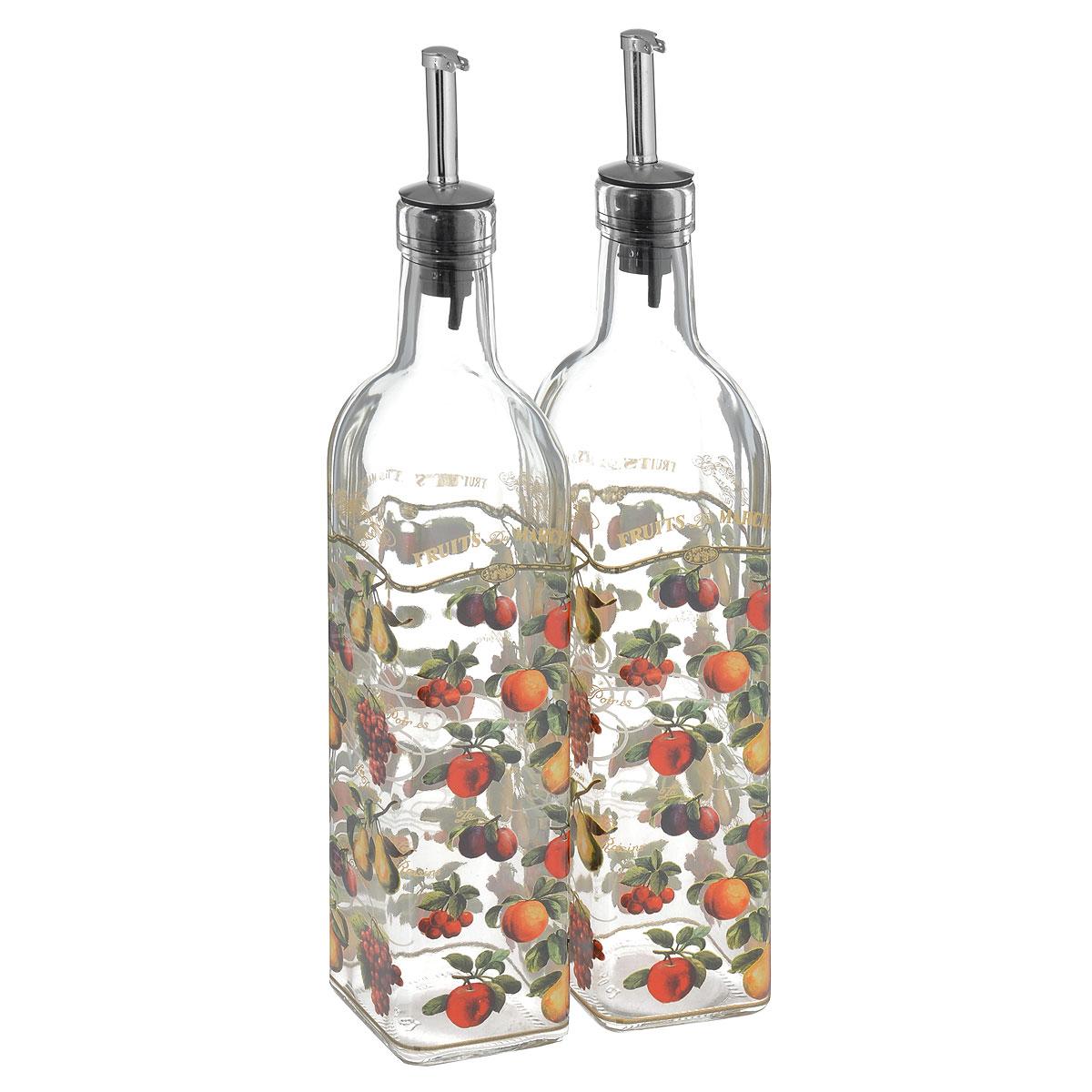 Набор емкостей для масла и уксуса Sinoglass Фрукты, 500 мл, 2 шт8041F60Набор Sinoglass состоит из двух емкостей для масла и уксуса. Изделия выполнены из высококачественного стекла и оформлены красочным изображением ягод и фруктов. Емкости оснащены специальными металлическими дозаторами, которые позволят добавить точное количество масла или уксуса. Благодаря прозрачным стенкам, можно видеть содержимое емкостей. Такой набор стильно дополнит интерьер кухни и станет незаменимым помощником в приготовлении ваших любимых блюд. Высота емкостей: 31 см. Размер основания: 5,5 см х 5,5 см.