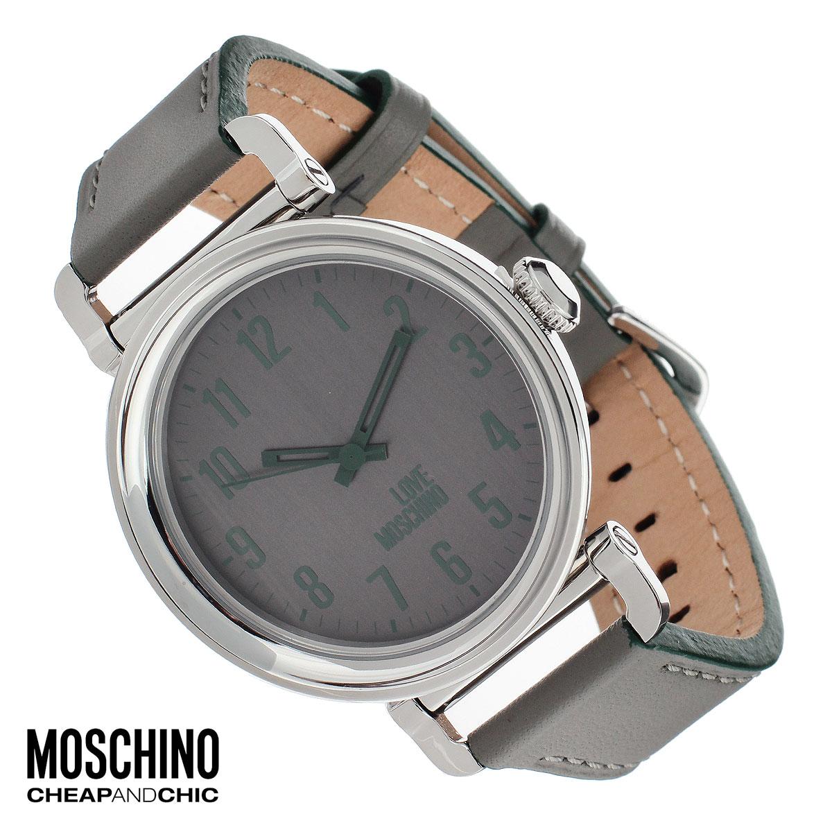 """Часы женские наручные Moschino, цвет: серый. MW0451MW0451Наручные часы от известного итальянского бренда Moschino - это не только стильный и функциональный аксессуар, но и современные технологи, сочетающиеся с экстравагантным дизайном и индивидуальностью. Часы Moschino оснащены кварцевым механизмом. Корпус выполнен из высококачественной нержавеющей стали. Циферблат с арабскими цифрами оформлен надписью """"Love Moschino"""" и защищен минеральным стеклом. Часы имеют три стрелки - часовую, минутную и секундную. Ремешок часов выполнен из натуральной кожи и имеет классическую застежку. Часы упакованы в фирменную металлическую коробку с логотипом бренда. Часы Moschino благодаря своему уникальному дизайну отличаются от часов других марок своеобразными циферблатами, функциональностью, а также набором уникальных технических свойств. Каждой модели присуща легкая экстравагантность, самобытность и, безусловно, великолепный вкус. Характеристики: Диаметр циферблата: 3,6 см. Размер корпуса: 4,5..."""