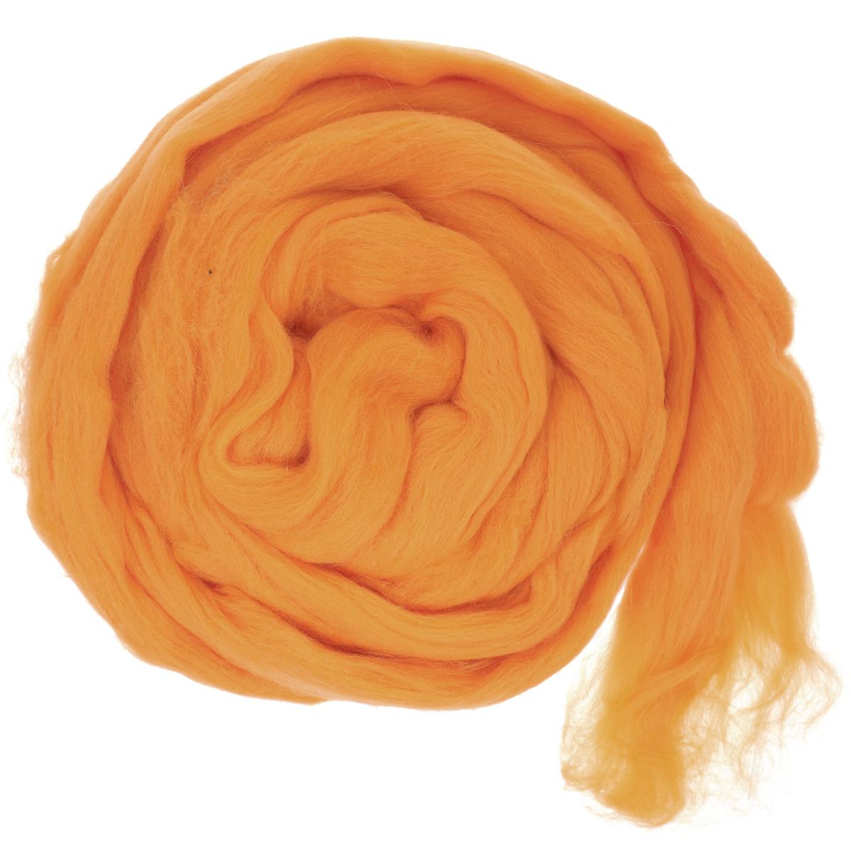 Шерсть для валяния Астра, тонкая, цвет: оранжевый (0491), 100 г366137_0491