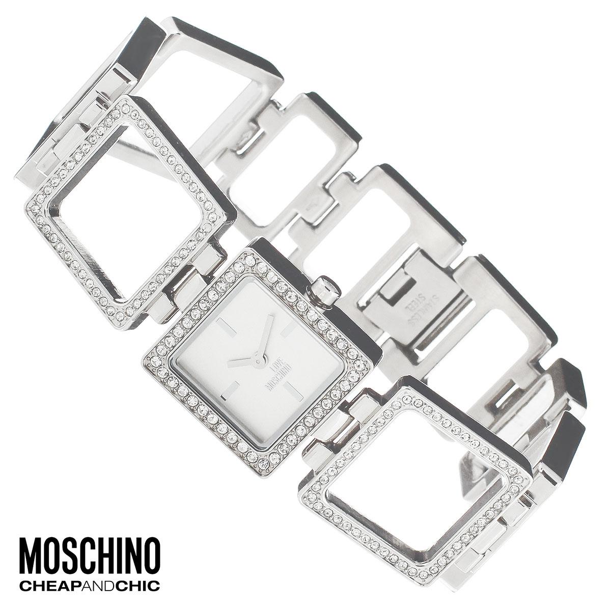 Часы женские наручные Moschino, цвет: серебристый. MW0447MW0447Наручные часы от известного итальянского бренда Moschino - это не только стильный и функциональный аксессуар, но и современные технологи, сочетающиеся с экстравагантным дизайном и индивидуальностью. Часы Moschino оснащены кварцевым механизмом. Корпус выполнен из высококачественной нержавеющей стали и по контуру циферблата декорирован стразами. Циферблат с отметками оформлен надписью Love Moschino и защищен минеральным стеклом. Часы имеют две стрелки - часовую и минутную. Браслет часов выполнен из нержавеющей стали в виде квадратных звеньев и имеет надежную застежку. Часы упакованы в фирменную металлическую коробку с логотипом бренда. Часы Moschino благодаря своему уникальному дизайну отличаются от часов других марок своеобразными циферблатами, функциональностью, а также набором уникальных технических свойств. Каждой модели присуща легкая экстравагантность, самобытность и, безусловно, великолепный вкус. Характеристики: Размер...