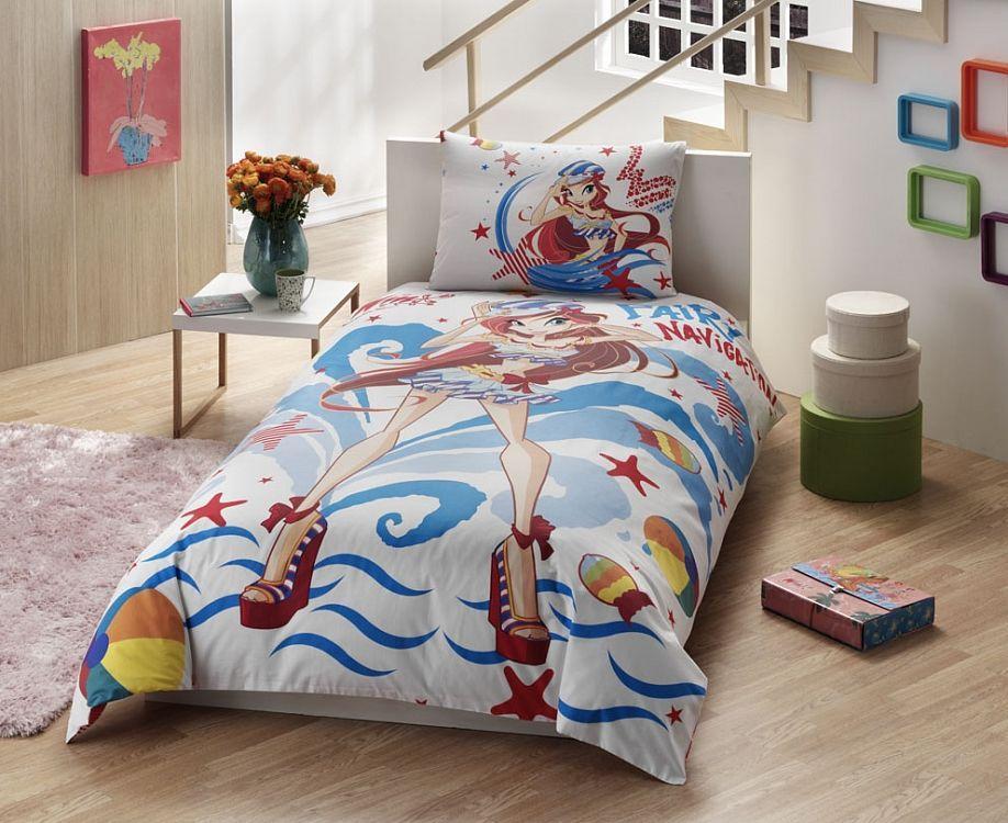 TAC Ranforce детский (3-12)/Disney 1,5сп Winx Bloom Ocean3800-60088548Осуществит заветную мечту ребенка окунуться в волшебный мир сказок, а любимые персонажи создадут атмосферу уюта для Вашего малыша. Постельное Белье Содержит два дизайна, на наволочке и на пододеяльнике!!!Ранфорс – плотная, в тоже время мягкая ткань, напоминает бязь. Идеально поддерживает естественный температурный баланс тела. Легко впитывает влагу (до 20% своего веса), оставаясь при этом сухой на ощупь. Очень устойчива к частым стиркам.