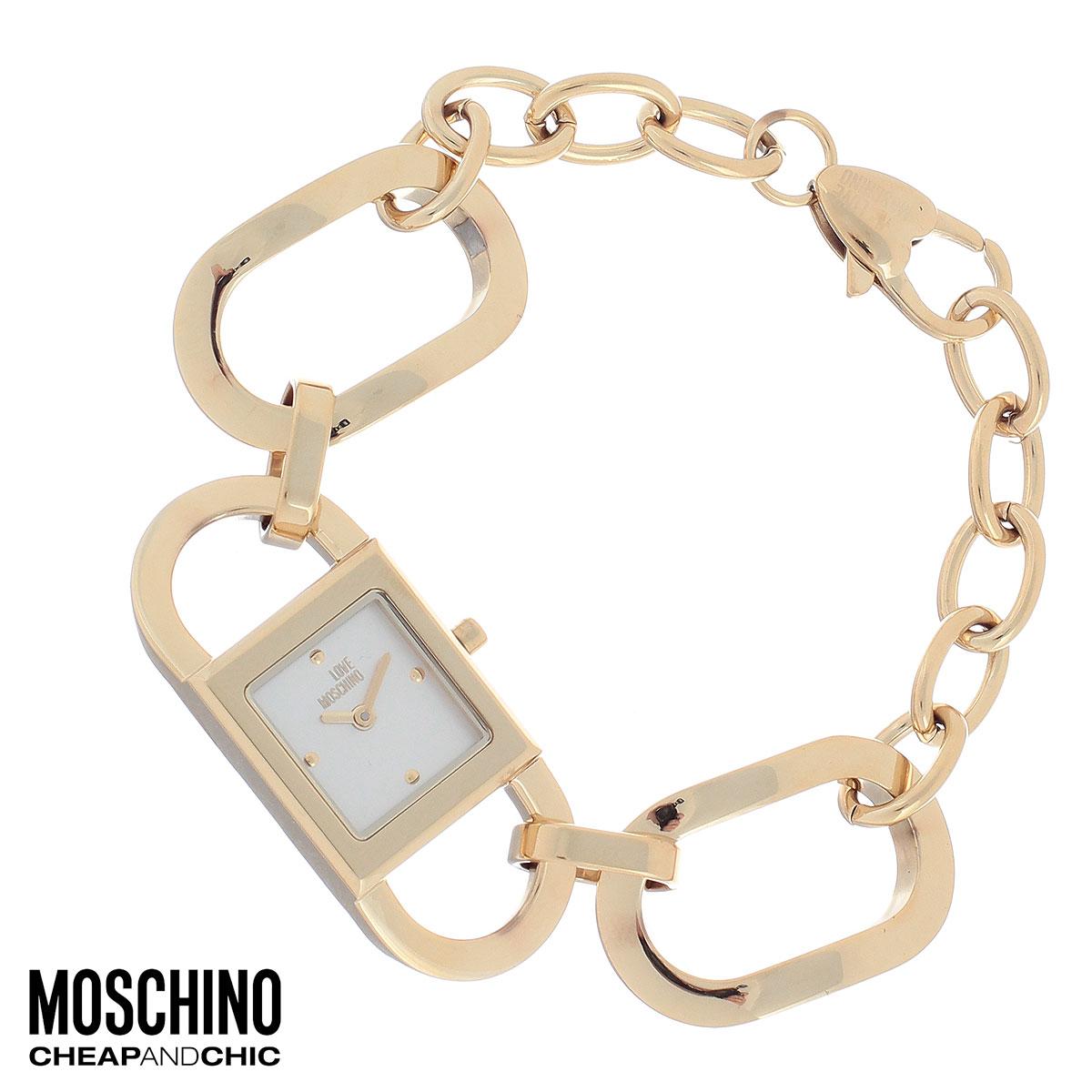 """Часы женские наручные Moschino, цвет: золотой. MW0478MW0478Наручные часы от известного итальянского бренда Moschino - это не только стильный и функциональный аксессуар, но и современные технологи, сочетающиеся с экстравагантным дизайном и индивидуальностью. Часы Moschino оснащены кварцевым механизмом. Корпус выполнен из высококачественной нержавеющей стали с PVD-покрытием. Циферблат с отметками оформлен надписью """"Love Moschino и защищен минеральным стеклом. Часы имеют две стрелки - часовую и минутную. Браслет часов выполнен из нержавеющей стали в виде цепочки из крупных звеньев и имеет надежную застежку-карабин. Часы упакованы в фирменную металлическую коробку с логотипом бренда. Часы Moschino благодаря своему уникальному дизайну отличаются от часов других марок своеобразными циферблатами, функциональностью, а также набором уникальных технических свойств. Каждой модели присуща легкая экстравагантность, самобытность и, безусловно, великолепный вкус. Характеристики: Размер циферблата:..."""