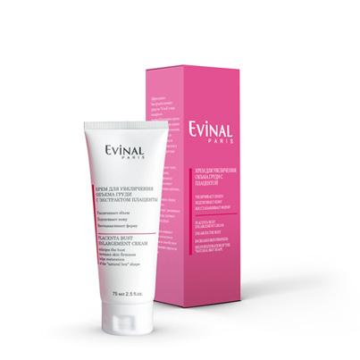 Evinal Крем для увеличения объема груди, с экстрактом плаценты, 75 мл0226Эффективное быстродействующее средство Evinal в виде нежирного пленкообразующего крема рекомендуется при первых признаках дряблости кожи, возникающих после беременности, после режима похудения или в результате возрастных изменений. Крем подтягивает кожу, уплотняет ткани, замедляет процессы старения, оказывает регенерирующее действие, увлажняет, восстанавливает форму природного бюстгальтера, увеличивает объем груди, улучшает общий вид груди. Этот крем защищает волокна коллагена и эластина и способствует поддержанию упругости тканей.