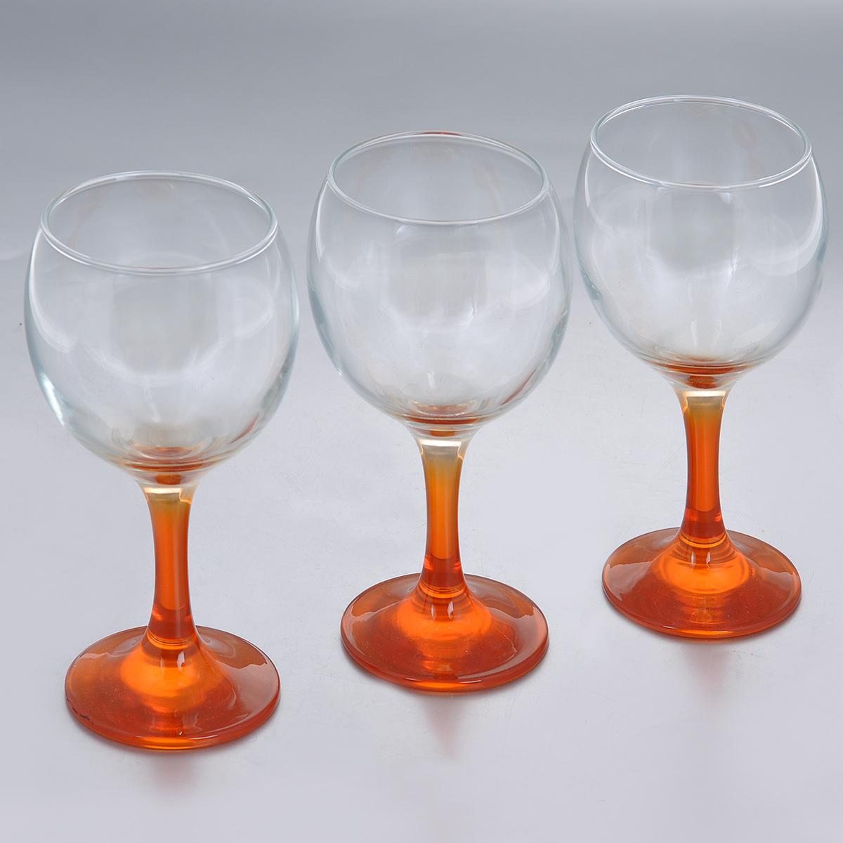 Набор фужеров Glass4you, цвет: оранжевый, 220 мл, 3 шт44412OR/Набор Glass4you состоит из трех фужеров, выполненных из прочного натрий-кальций-силикатного стекла. Изделия имеют тонкие высокие цветные ножки. Фужеры излучают приятный блеск и издают мелодичный звон. Предназначены для подачи вина. Набор фужеров Glass4you прекрасно оформит праздничный стол и станет хорошим подарком к любому случаю. Можно мыть в посудомоечной машине. Диаметр фужера (по верхнему краю): 6,6 см. Высота фужера: 14,5 см. Диаметр основания: 6,4 см.